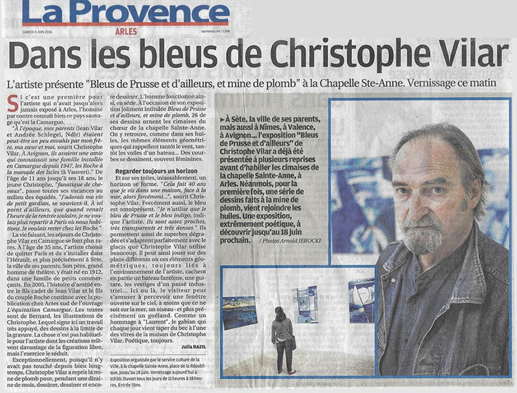 Article de journal sur Christophe Vilar et son exposition