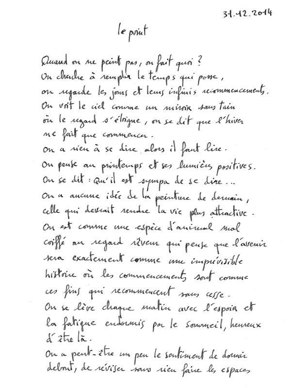 texte de l'artiste peintre Christophe Vilar, Sète