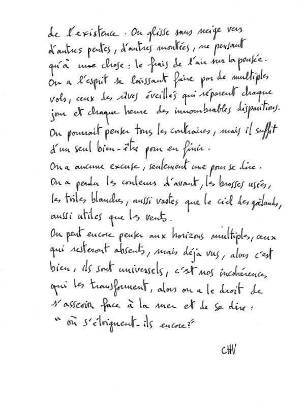 Texte de l'artiste peintre Christophe Vilar, à Sète : le point 2