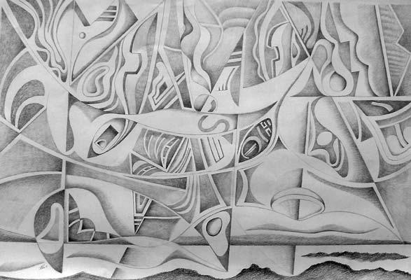 Dessin de Christophe Vilar, artiste peintre, Sète